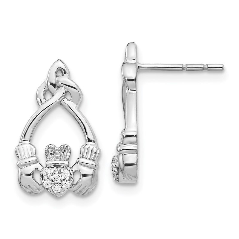 Quality Gold 14k White Gold Diamond Claddagh Post Earrings