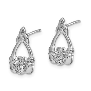 14k White Gold Diamond Claddagh Post Earrings