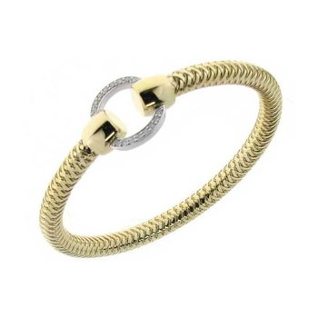 18KT YELLOW AND WHITE GOLD BANGLE WITH DIAMOND CIRCLE STATION