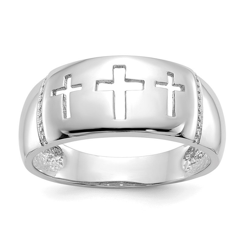 Quality Gold 14k White Gold Polished 3 Cross Cut-out Ring