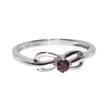 14k White Gold Ruby Swirl Ring