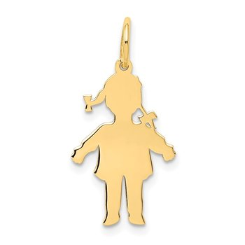14k Plain Polished Small Girl Charm