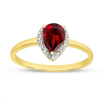 14k Yellow Gold Pear Garnet And Diamond Ring