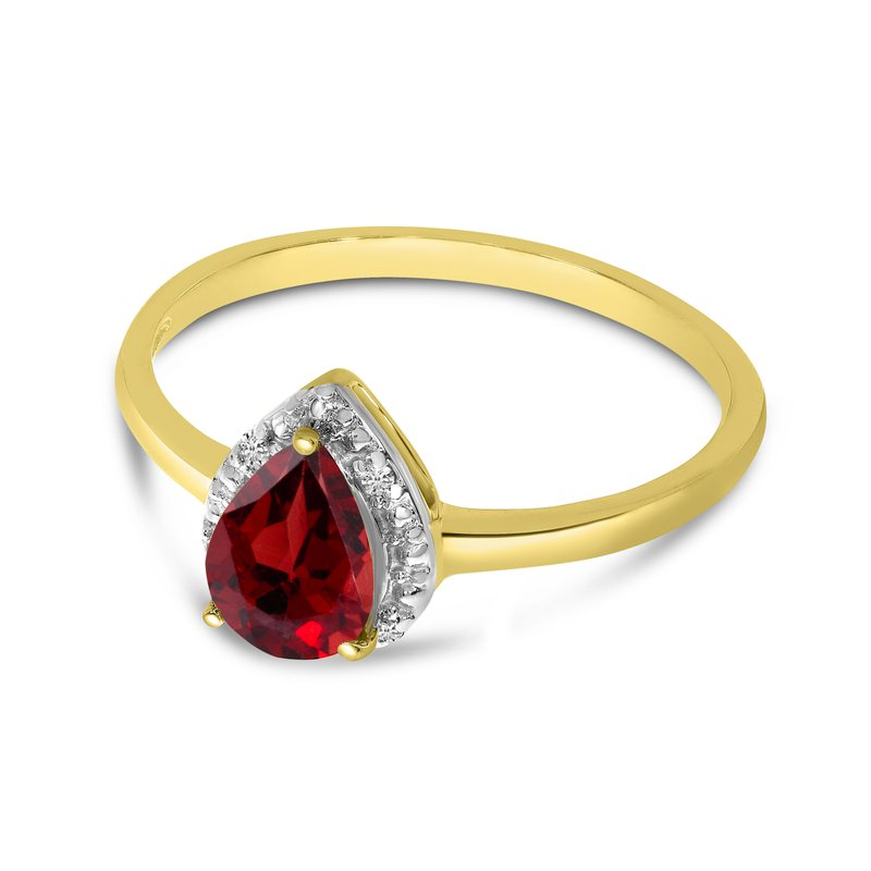 Color Merchants 14k Yellow Gold Pear Garnet And Diamond Ring
