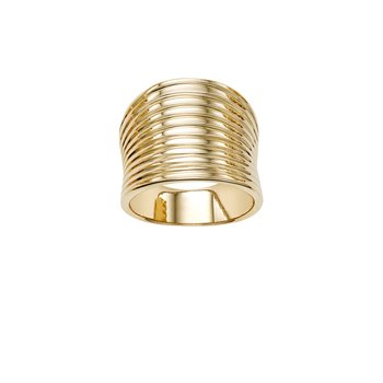 14K Gold Ribbed Ring