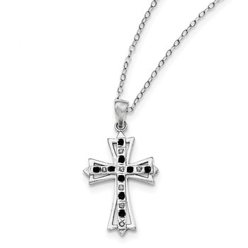 Sterling Silver Diamond Mystique Black/White Dia Cross Necklace