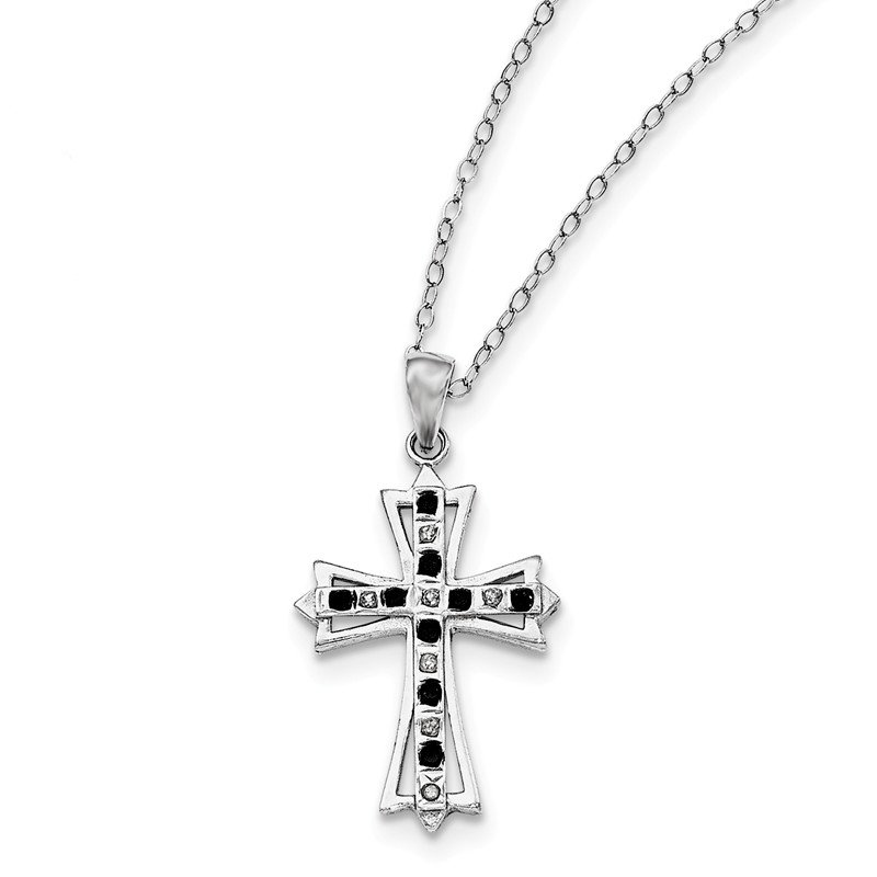 Quality Gold Sterling Silver Diamond Mystique Black/White Dia Cross Necklace