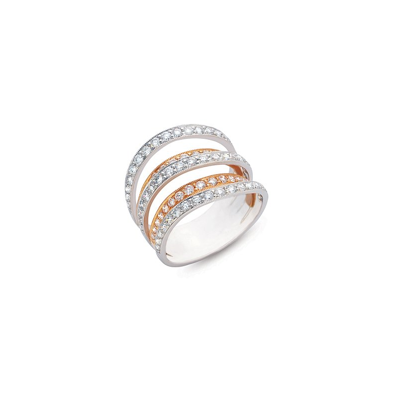 MAZZARESE Fashion Rose & White Gold Diamond Fashion Ring