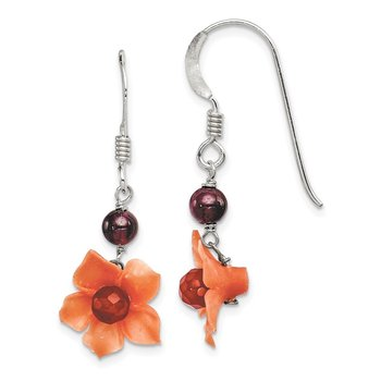 Sterling Silver Garnet Bead / Carnelian Dangle Flower Earrings