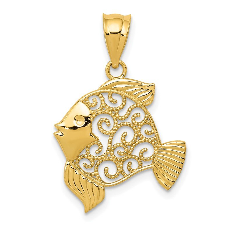 Quality Gold 14k Filigree Fish Pendant