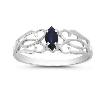 14k White Gold Marquise Sapphire Filagree Ring