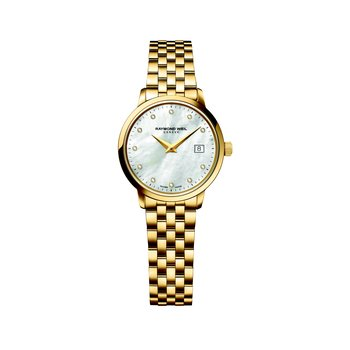 Ladies Quartz Date Watch, 29 mm Yellow gold plated stainless steel 11 diamonds