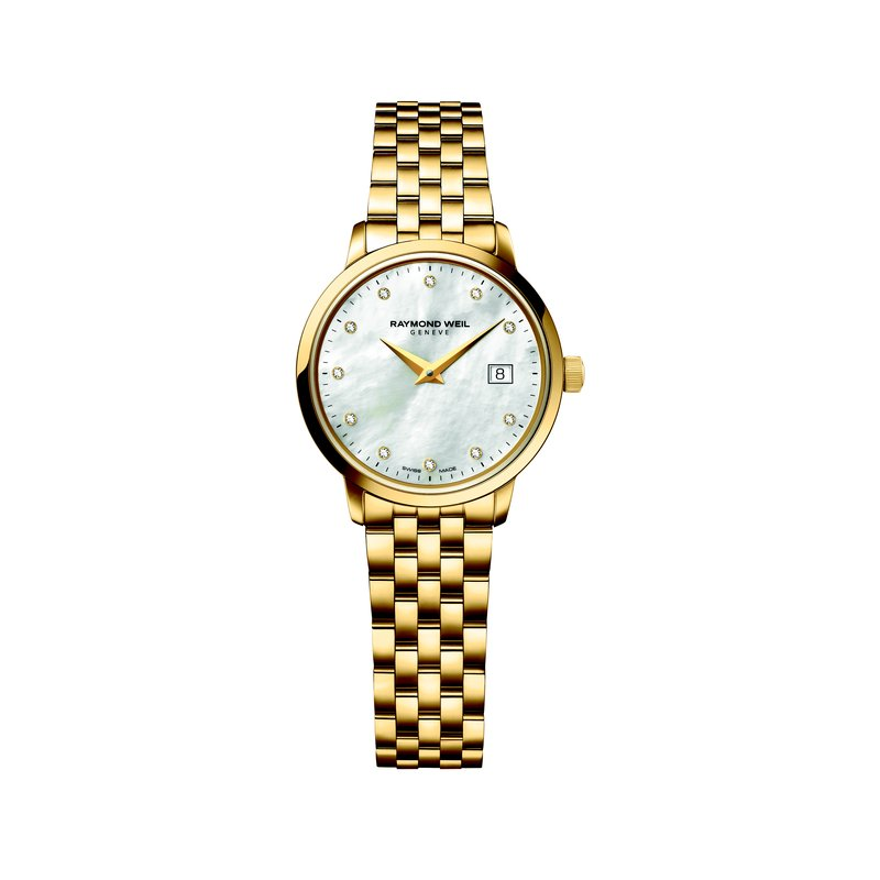 Raymond Weil Ladies Quartz Date Watch, 29 mm Yellow gold plated stainless steel 11 diamonds