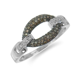 14K WG Black and White Diamond Oval Link Ring in Pave Setting