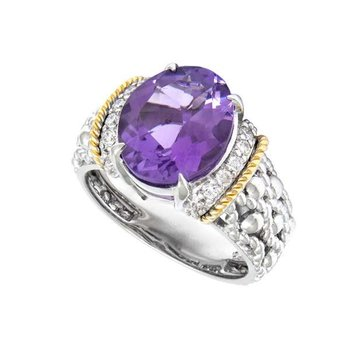18kt & Sterling Silver Amethyst Ring