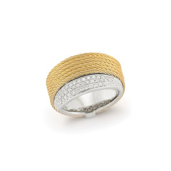 Yellow Cable Peekaboo Ring with 18kt White Gold & Diamonds