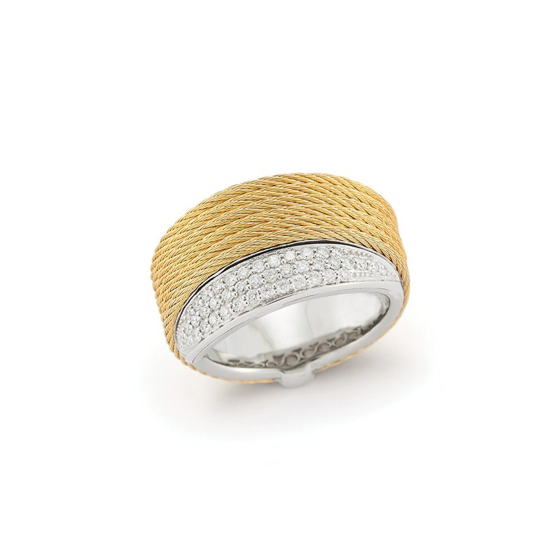 ALOR Yellow Cable Peekaboo Ring with 18kt White Gold & Diamonds
