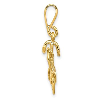 14kt Yellow Gold Polished 3D Bicycle Pendant