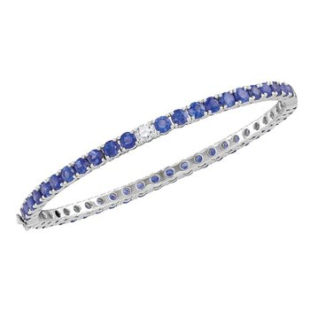 18kt White Gold Womens Round Blue Sapphire Bangle Bracelet 9.00 Cttw