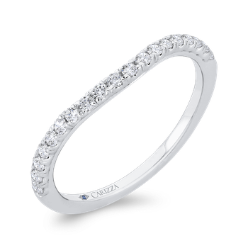 18K White Gold Half Run Round Diamond Wedding Band
