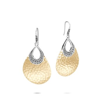 Classic Chain Teardrop Earring, Silver, Hammered 18K Gold