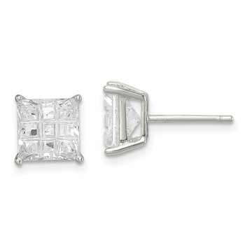 Sterling Silver 7mm Square Laser-cut CZ Basket Set Stud Earrings