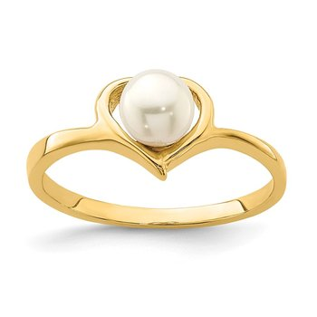 14K Madi K 4-5mm White Button Freshwater Cultured Pearl Heart Ring