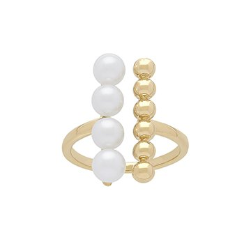 Honora 14KY 4.5-5 White Round Freshwater Cultured Pearl Pebble Bar Open Ring