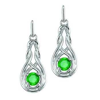 Silver Emerald Earrings (Available In all BirthStones)