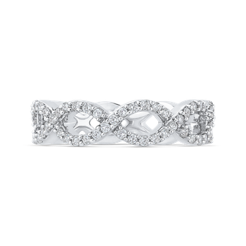 10K White Gold 3/4 ct Round Diamond Infinity Wedding Band Ring