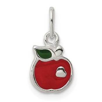 Sterling Silver Enameled Apple Charm