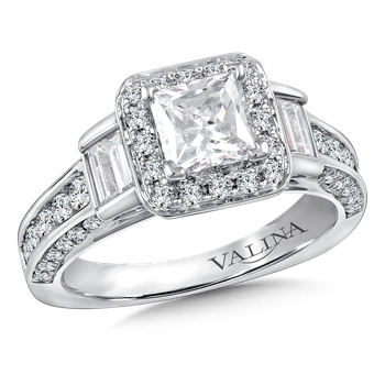 Halo Engagement Ring Mounting in 14K White Gold (1.32 ct. tw.)