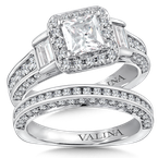 Valina Bridals Halo Engagement Ring Mounting in 14K White Gold (1.32 ct. tw.)