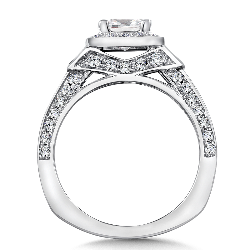Valina Halo Engagement Ring Mounting in 14K White Gold (1.32 ct. tw.)