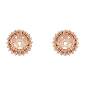 18K Rose 3.5 mm Round Earring Jacket Mounting