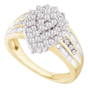 10kt Yellow Gold Womens Round Diamond Oval Cluster Baguette Accent Ring 1.00 Cttw