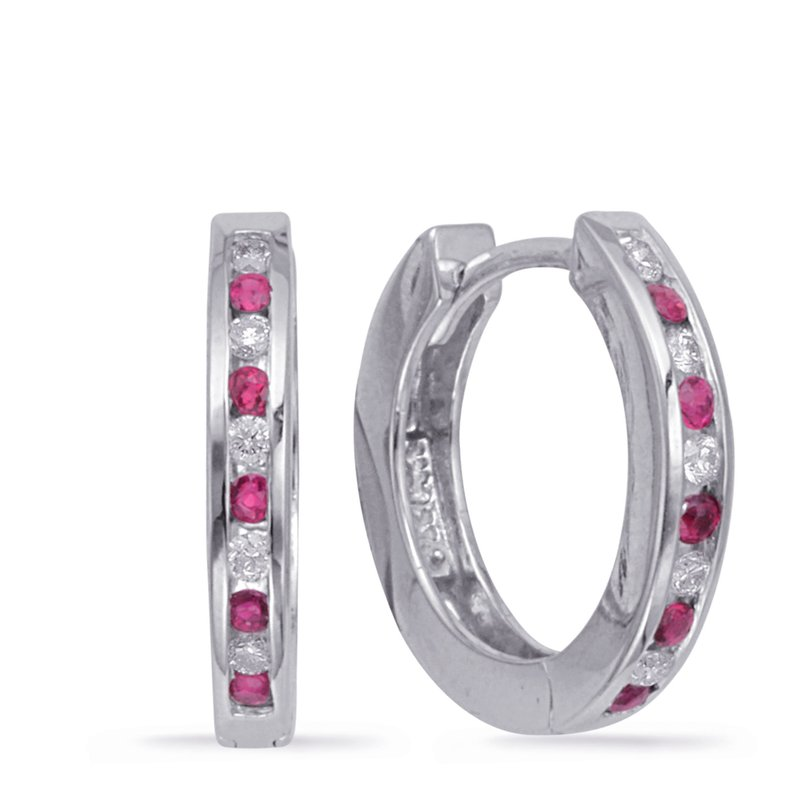 S. Kashi  & Sons Huggie Earring Diamond & Ruby