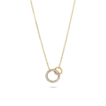 Classic Chain Interlinking Necklace in 18K Gold, Diamonds