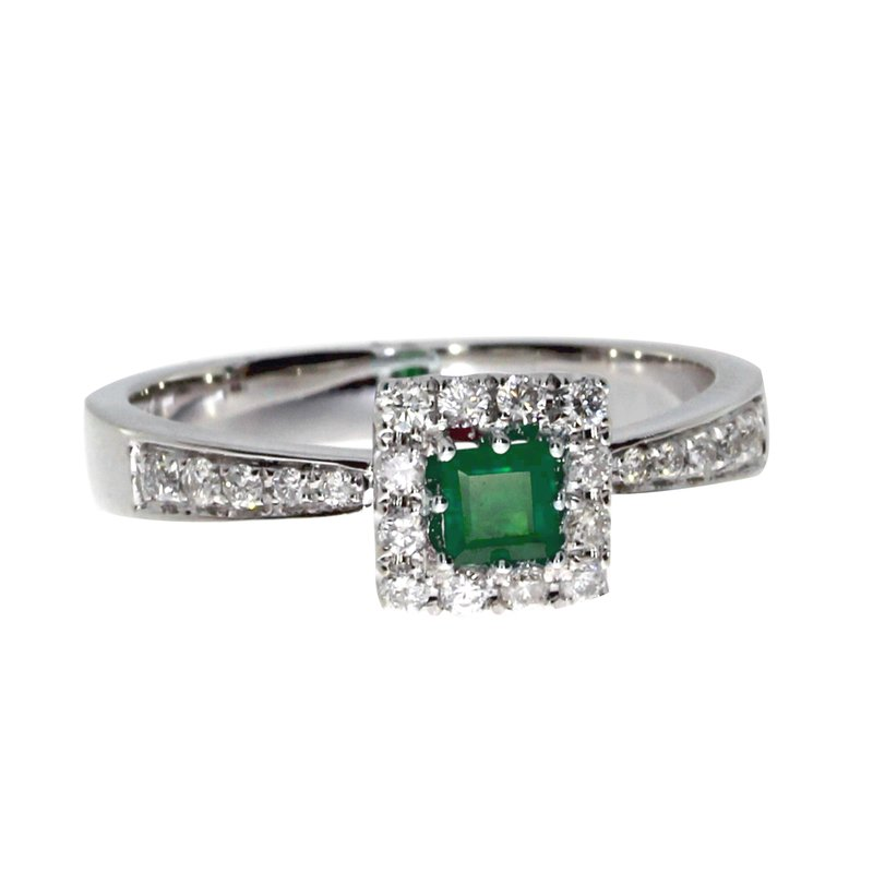14k White Gold Princess Emerald Ring