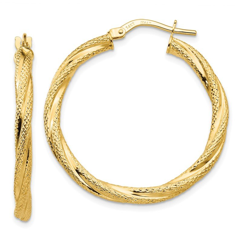 Quality Gold 14K Twisted Textured Hoop Earrings