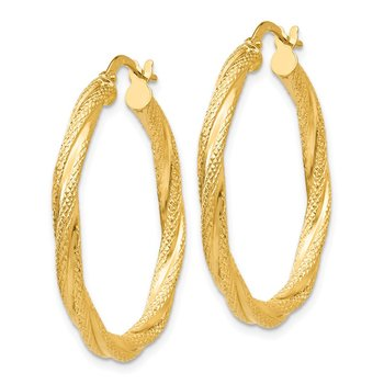 14K Twisted Textured Hoop Earrings