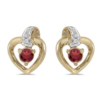 10k Yellow Gold Round Garnet And Diamond Heart Earrings