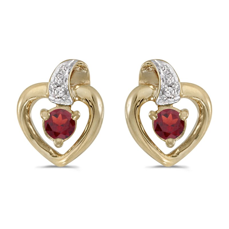 Color Merchants 10k Yellow Gold Round Garnet And Diamond Heart Earrings