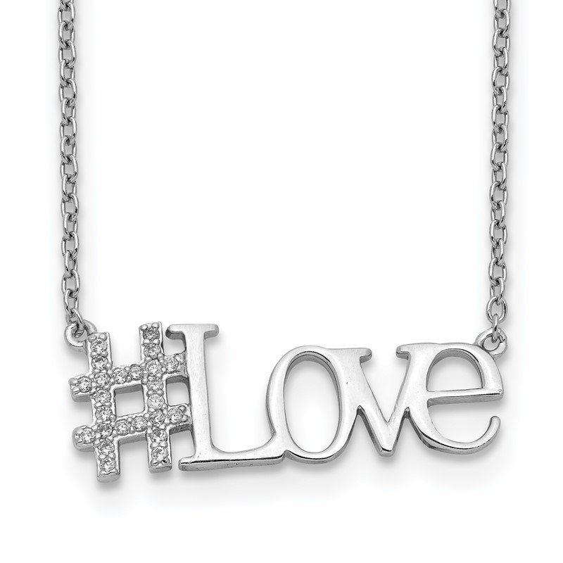 Quality Gold Sterling Silver Rhodium-plated CZ 18in Hashtag LOVE Necklace