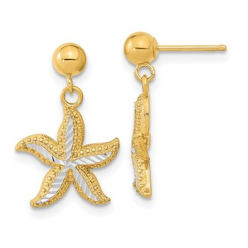 14k w/Rhodium Diamond-cut Starfish Dangle Ball Post Earrings