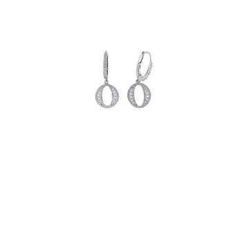 18Kt White Gold Diamond Oval Drop Earrigns