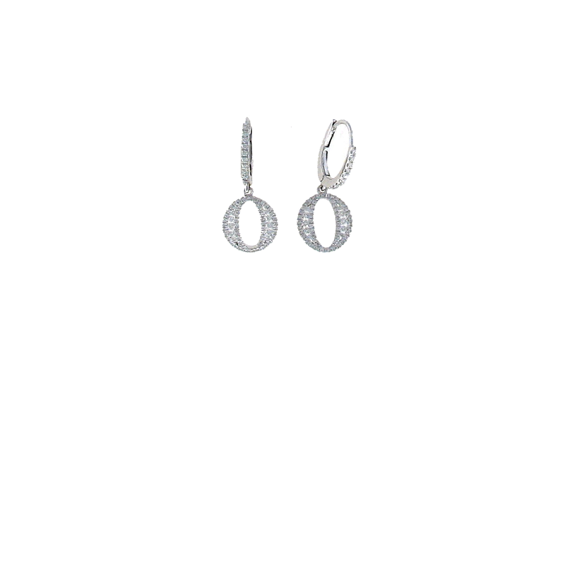Roberto Coin 18Kt White Gold Diamond Oval Drop Earrigns