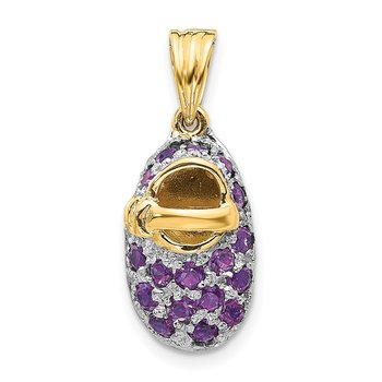 14k & Rhodium Prong-Set February/Amethyst Baby Shoe Charm