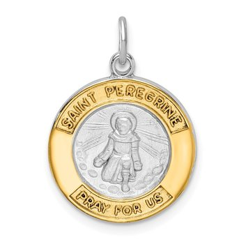 Sterling Silver Rhodium-plated & Gold Tone St Peregrine Medal