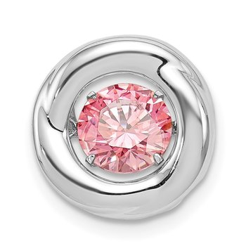 Sterling Silver Platinum-plated Polished Vibrant Pink CZ Circle Pendant